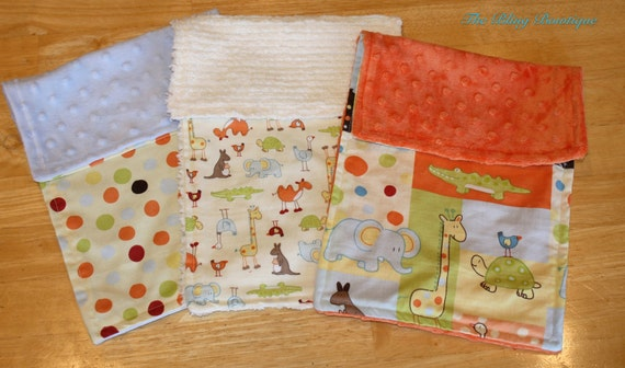 Baby Boy Animal Burp Cloth Set