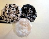 Black and White  Triple Rosette Headband