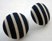 Navy and Cream striped fabric covered button earrings