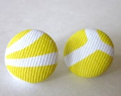 Yellow and White Fabric Covered Button Earrings