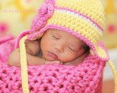 Newborn Earflap Hat -- Baby Girl Yellow Hat With Hot Pink Triple Layered Flower