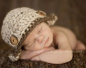Newborn Earflap Hat -- Baby Boy Creme Tweed with Brown Tweed Trim
