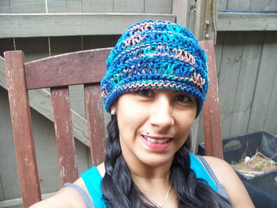 Knitted  Beanie Hat, Adult Size, Cotton : Summer Blues