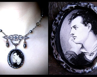 Lord Byron Pendant Necklace, black glass faux pearl beads and polymer clay pendant, filigree, gothic, romantic, victorian, poet, decadent