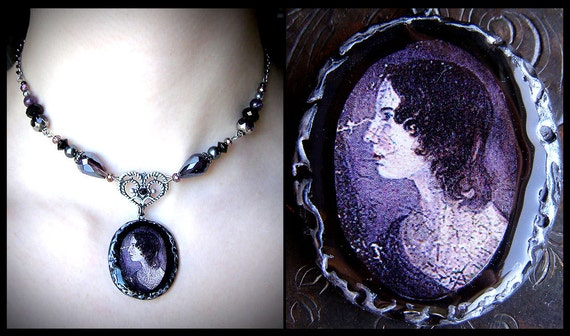 Emily Bronte, Victorian mourning jewelry, purple glass beads, romantic, filigree heart, English poet, novelist, Wuthering Heights, gothic