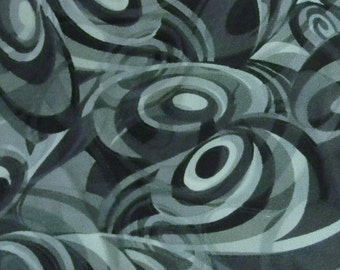 1 yards Black and Grey Abstract Robert Cotton Fabric Kaufman Fabric