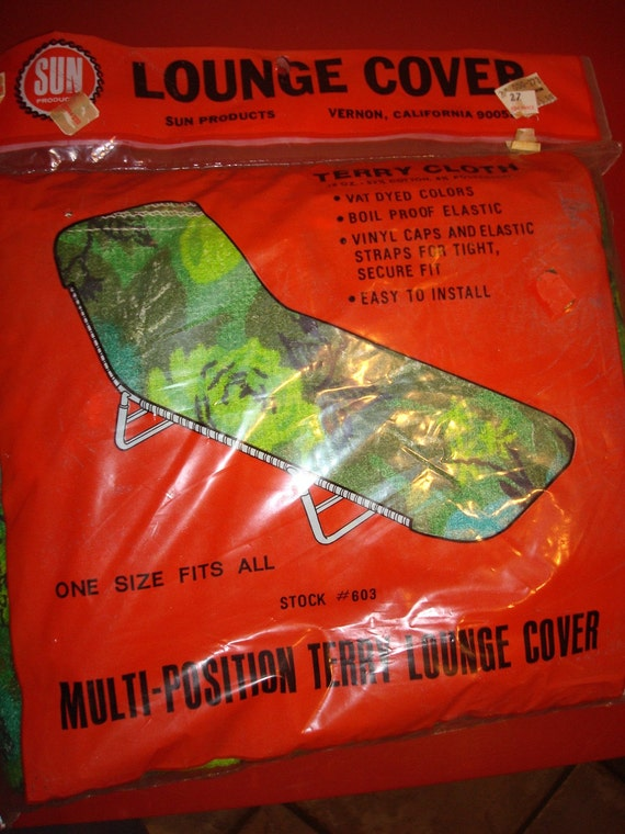 60's Vintage Mid Century Modern - Outdoor Lounge Cover - Green Floral Terry Cloth