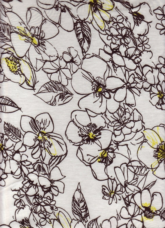 2 yards Black &White Abtract Floral Jersey Knit Fabric
