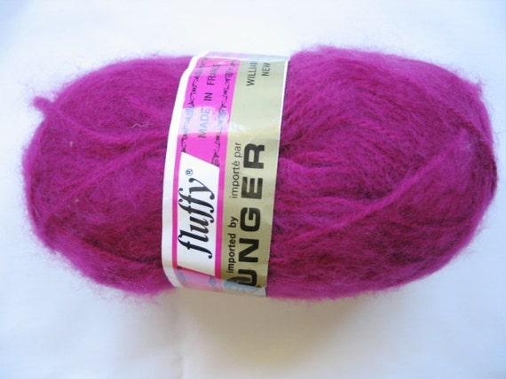 Destashing Yarn - Unger fluffy acrylic - beautiful fuschia  Color 521 Dye Lot 1979