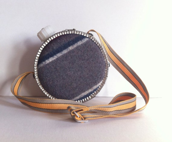 Vintage Canteen with Wool Cover and Shoulder Strap