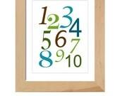123's printable poster, wall art, digital file, custom colors, nursery, new parents, gift, playroom, DIY
