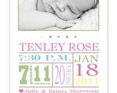 Modern printable photo birth announcement, birth stats, digital file, printable, nursery, new parents, gift, baby girl