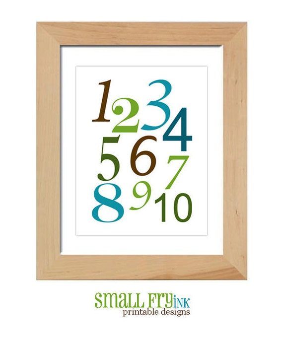 123's printable poster, wall art, digital file, custom colors, nursery, new parents, gift, playroom, DIY, automatic download