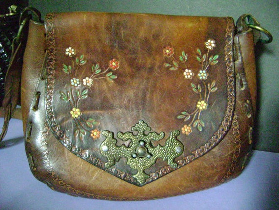 1960S Hand Tooled & Hand Painted Leather Hippie Saddlebag w/ Great Hardware