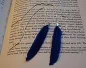 BLUE - Cobalt Blue Duck Feather Ear Threads