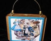 Handmade Cigar Box Purse Alice In Wonderland OOAK Collage Novelty