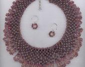 Necklace Egyptian Collar Cherry Crush Statement Necklace Beadwork Necklace Herringbone Necklace Fringe Necklace