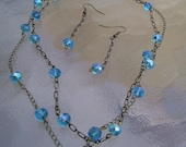 Chain Necklace Double Strand Bronze Chain Aqua Blue Beads handmade necklace womens necklace and matching earrings