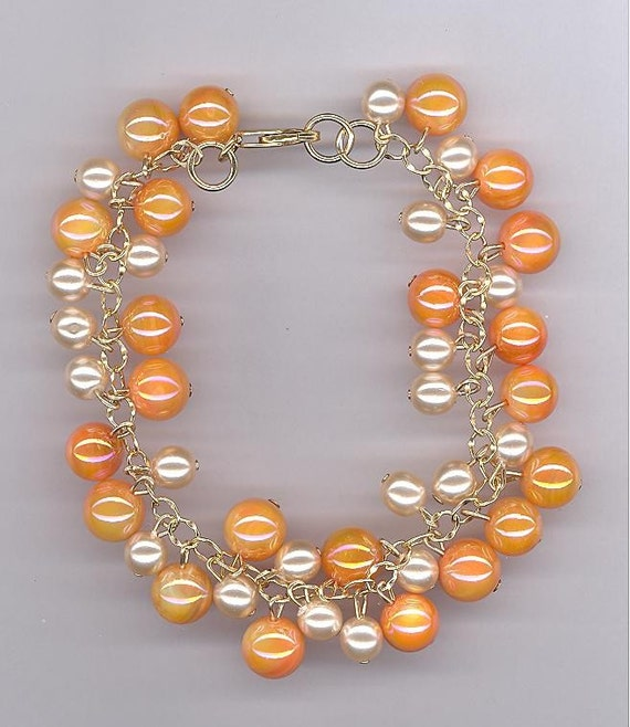 Peach and Ivory Pearl Bracelet Beaded Chain FREE SHIPPING