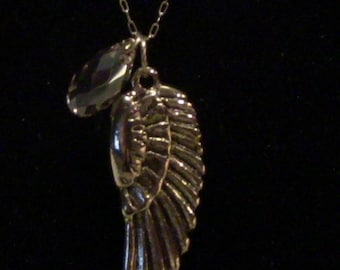 "18"" Gold Angel Wing Pendant with Golden Shadow Swarovski Crystals"