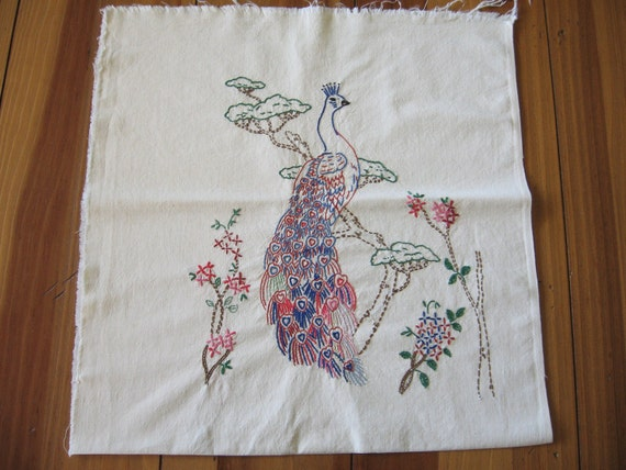 "Vintage Embroidered Peacock Pillow to Finish 16"" x 16"" Colorful"