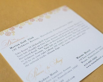 Botanical Trim Large Invitation Insert (or Directions Card)