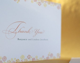 Botanical Trim Custom Thank You Card with Envelope