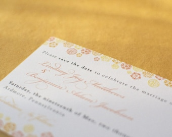 Vintage Inspired Botanical Trim Save the Date Card and Envelope