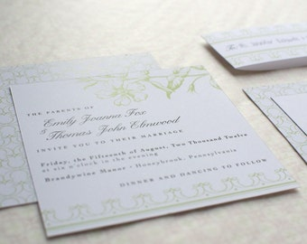 Spring Wedding Invitation Package : Vintage Flora - 5 pieces