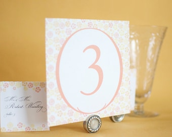 Wedding Table Number Displays : Vintage Inspired Botanical Trim