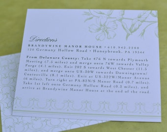 Wedding Invitation Insert : Vintage Flora Directions Card (Large Insert)