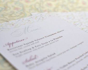 Vintage Inspired Filigree Vines Menu