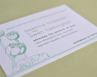 Save the Date : Vintage Mint Poppies