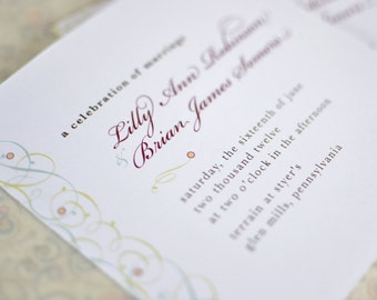 Wedding Program : Vintage Inspired Filigree