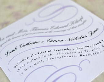 CUSTOM Wedding Invitation Suite: Vintage Calligraphy Scrolls - 5 piece Suite (Invitation with envelope, RSVP with envelope and Bellyband)