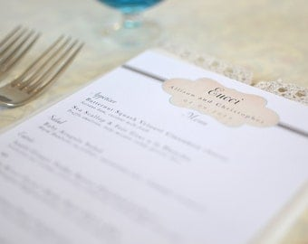 Vintage Monogram Wedding Menu Card: Taupe and Teal Vintage Cachet