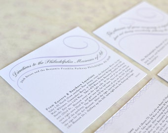 Vintage Wedding Invitation Large Insert: Directions Card, Vintage Calligraphy Scrolls