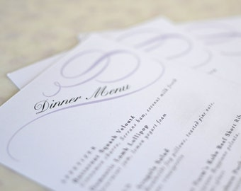 Vintage Wedding Menu Card: Calligraphy Scrolls