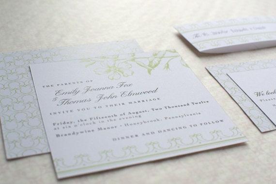 Spring Wedding Invitation Package : Vintage Flora - 5 pieces