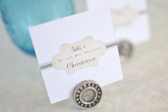 Vintage Wedding Place Cards: Monogram, Taupe and Teal Vintage Cachet (Flat or folded)