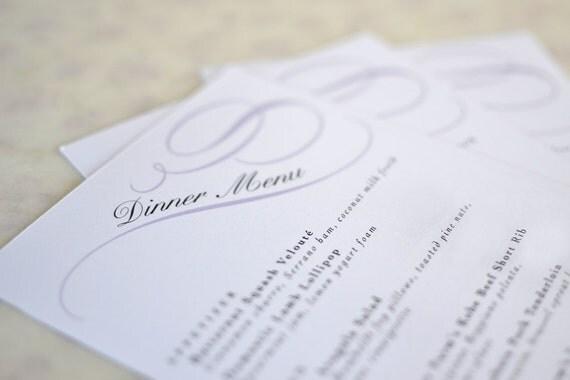 Vintage Wedding Menu Card: Calligraphy Scrolls