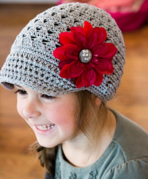 Gray Newsboy Hat with Red detachable Flower Clip - Size 1 - 3 years