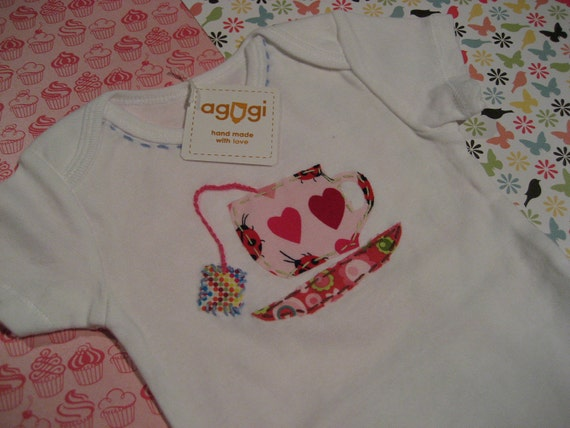 Little tea cup baby girl onesie