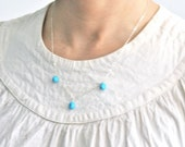 Three Turquoise Pebbles Sterling Silver Necklace