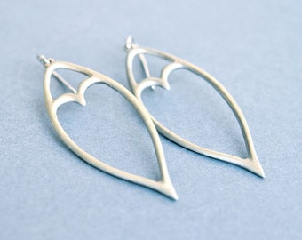 Long Sterling Silver Organic Leaf Art Nouveau Earrings