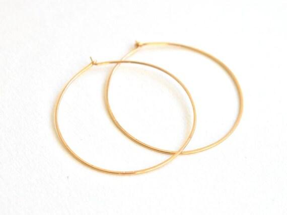 Round Hoop Earrings, Medium, Gold Filled , Silver, handmade