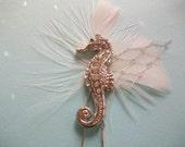 Seahorse Hair Pin - Handmade Wedding - Beach Wedding - Seahorse Hair Accessory - Resort Wedding - Custom Headpiece - Bespoke Headpiece