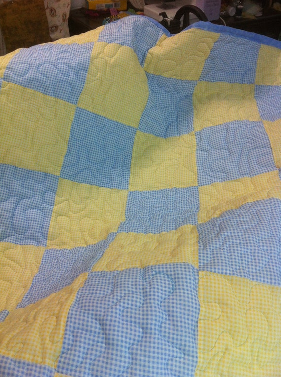 Blue and Yellow check Gingham baby quilt. 33 x 40