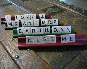 Scrabble Pieces...Kiss Me Sign...Card...Gift/Wedding Sign/ Wedding Decor