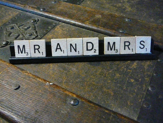 Scrabble Pieces...MR AND MRS..Sign...Card...Gift